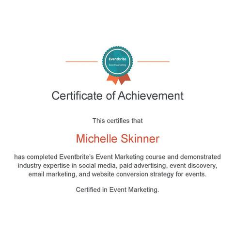 Michelle Skinner Event Marketing Certifi