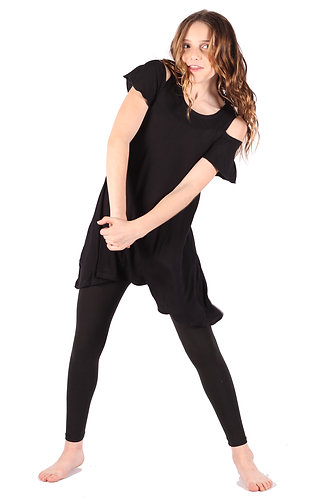 Black Cold Shoulder Tunic Dress