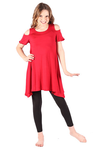 Red Cold Shoulder Tunic Top