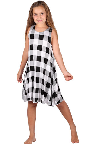 B/W Plaid Sleeveless Sundress