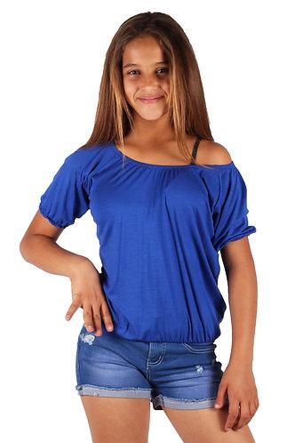 Royal Blue Blouse Off Shoulder 3/4 Sleeve