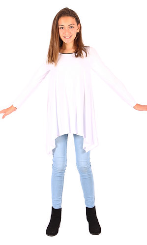White Shark Bite Long Sleeve Tunic Top