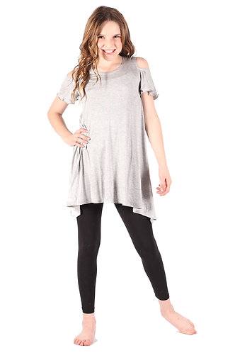 Light Grey Cold Shoulder Tunic Dress