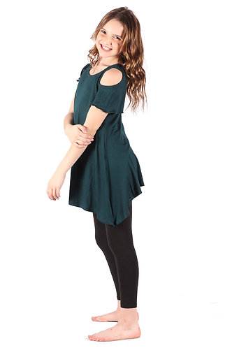 Blue Green Cold Shoulder Tunic Top