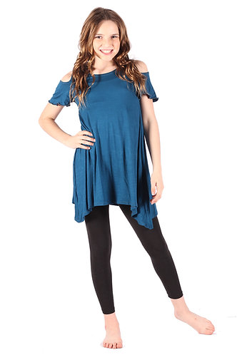 Blue Cold Shoulder Tunic Top