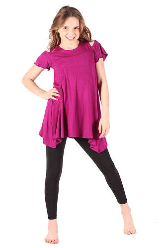 Magenta Cold Shoulder Tunic Dress