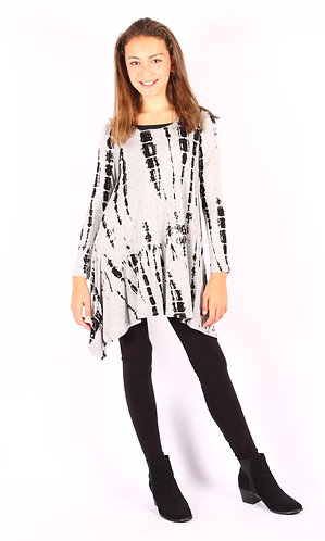 Tie-Dye Shark Bite Long Sleeve Tunic Top
