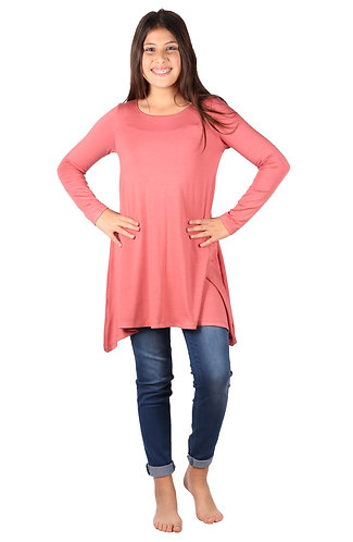 Pink Shark Bite Long Sleeve Tunic Top