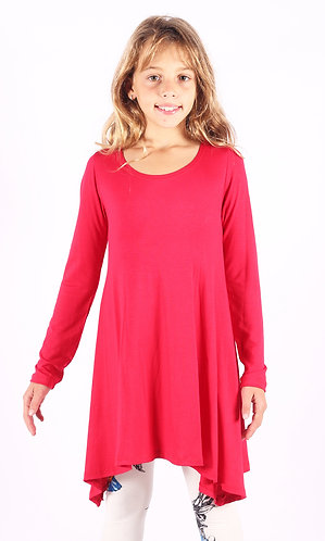 Bright Pink Shark Bite Long Sleeve Tunic Top