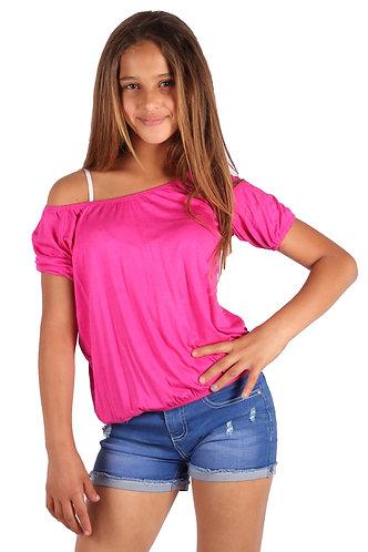 Hot Pink Blouse Off Shoulder 3/4 Sleeve
