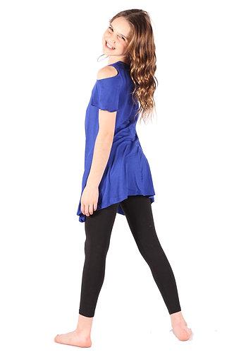 Royal Blue Cold Shoulder Tunic Dress