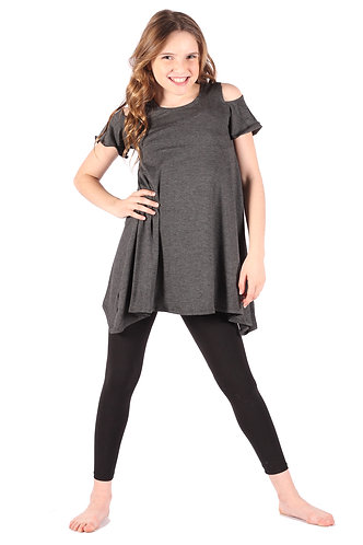 Charcoal Cold Shoulder Tunic Dress