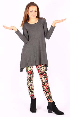 Charcoal Shark Bite Long Sleeve Tunic Top