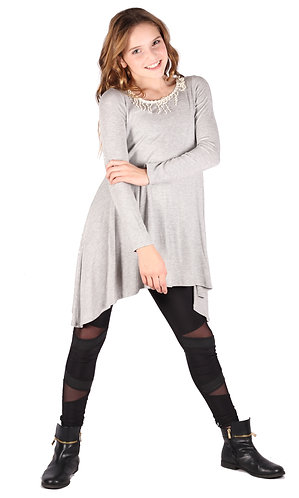 Light Grey Trim Shark Bite Long Sleeve Tunic Top
