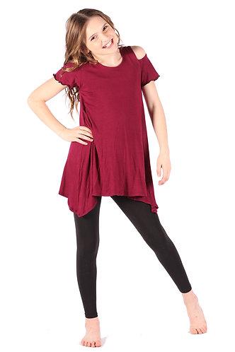 Wine Cold Shoulder Tunic Dress