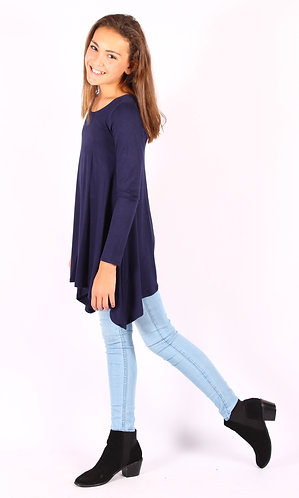 Navy Shark Bite Long Sleeve Tunic Top