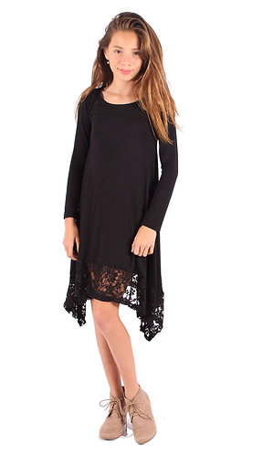 Black Trim Shark Bite Long Sleeve Tunic Top