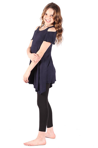 Navy Cold Shoulder Tunic Top