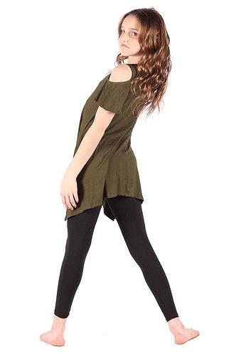 Olive Green Cold Shoulder Tunic Dress