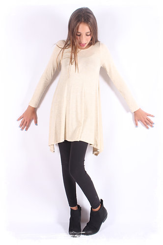 Ivory Shark Bite Long Sleeve Tunic Top
