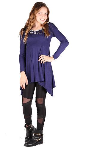 Purple Trim Shark Bite Long Sleeve Tunic Top