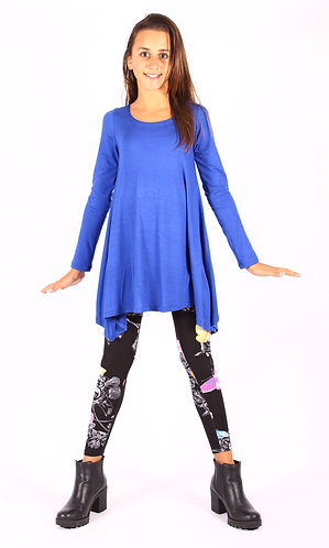 Royal Blue Shark Bite Long Sleeve Tunic Top