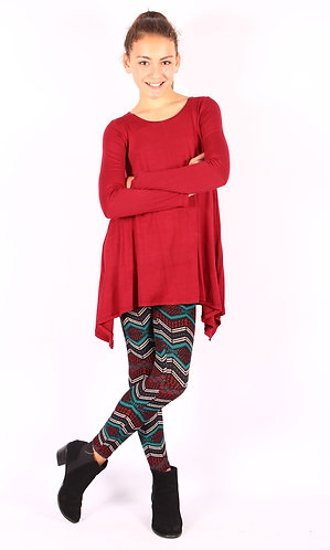 Red Shark Bite Long Sleeve Tunic Top