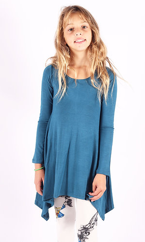 Blue Shark Bite Long Sleeve Tunic Top
