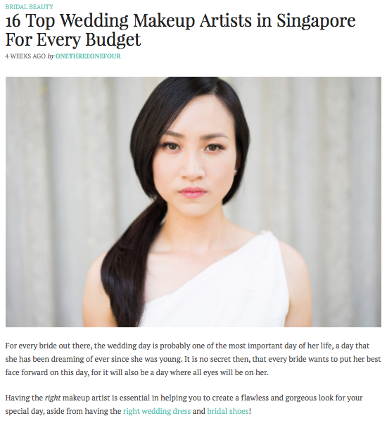 """16 Top Wedding Makeup Artists in Singapore"" as Featured on BlogOneThreeOneFour"
