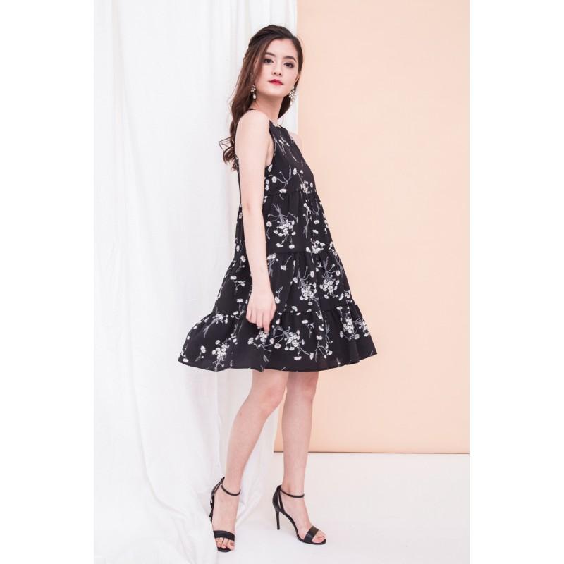 taya-floral-ruffle-hem-dress-in-black