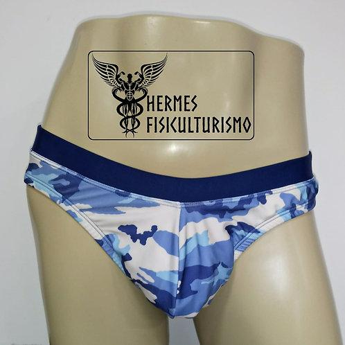 Sunga Camuflada Azul com Cós Azul Marinho