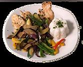 Hühnerfleisch, Reis und Gemüse