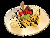 Eispalatschinken mit Schlagobers, Eis und Früchten