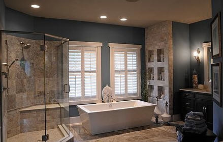 Bath and shower with built-in wall storage