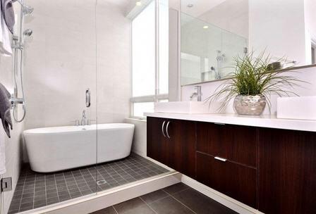 Bath with frameless glass enclosure