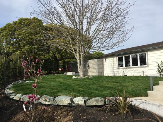 Fresh lawn with rock border