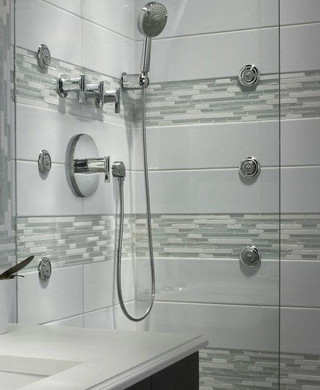 Bathroom updated with luxury multi head shower system