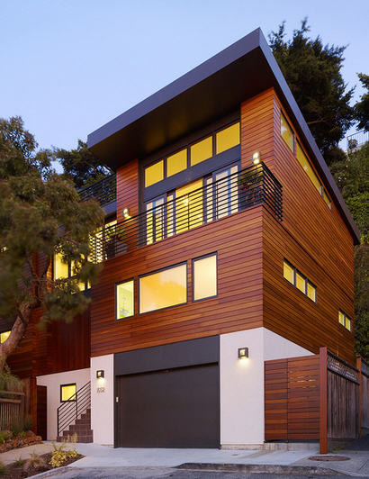 Natural wood exterior and balcony