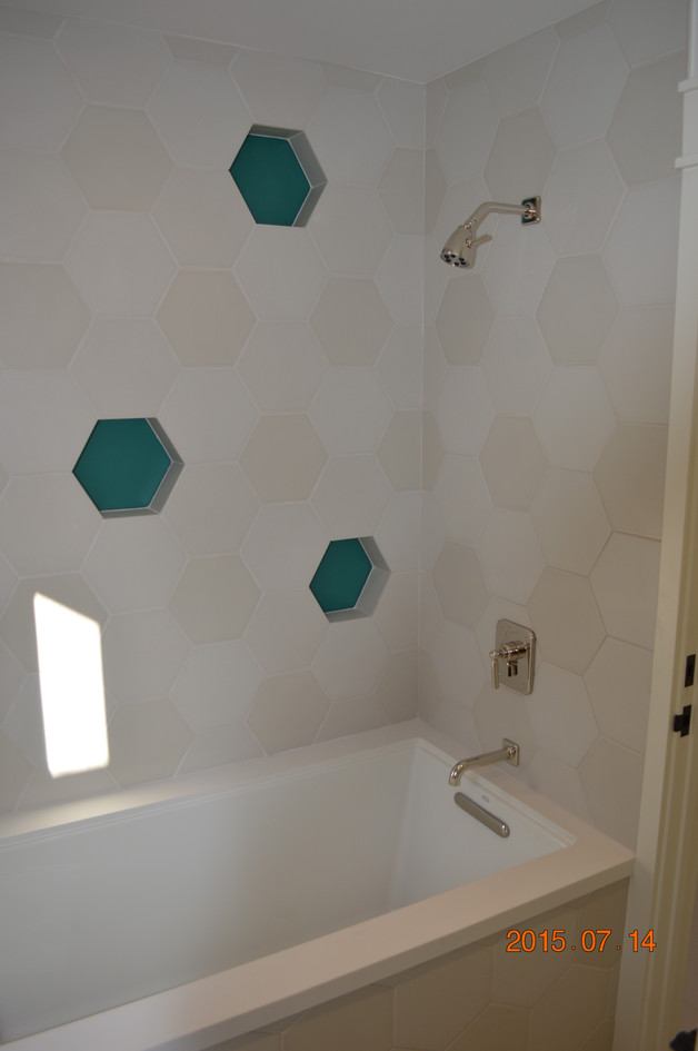 Custom geometric tiling and shelves