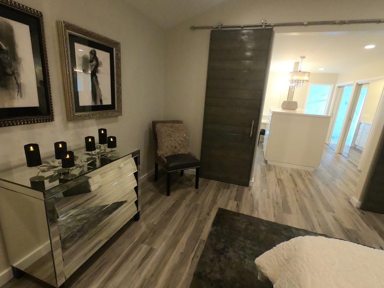 Master bedroom with track sliding door