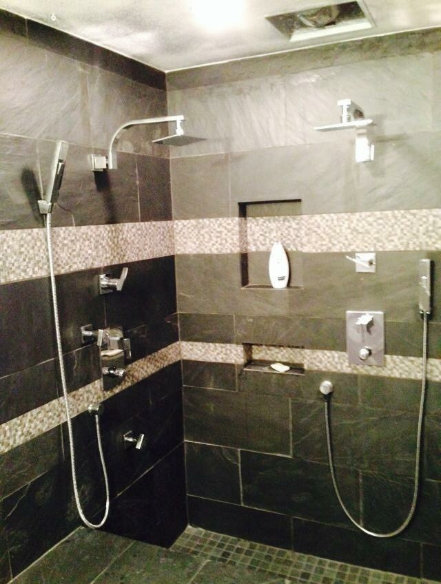 Luxury shower with natural stone detail