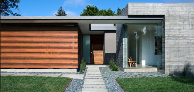 Wood and concrete front entry