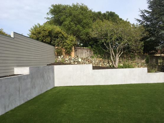 Raised concrete garden beds and lawn