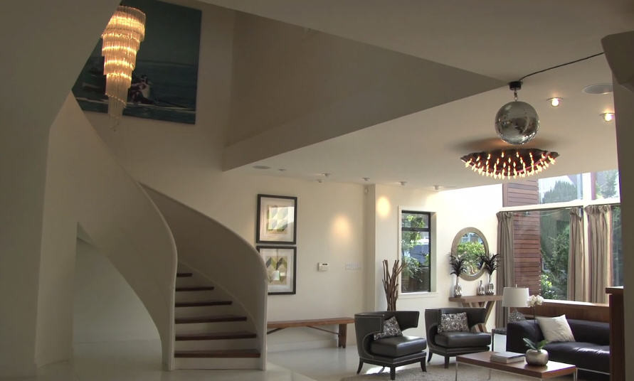 Curved staircase and open living space