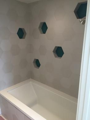 Bath with custom tile and storage