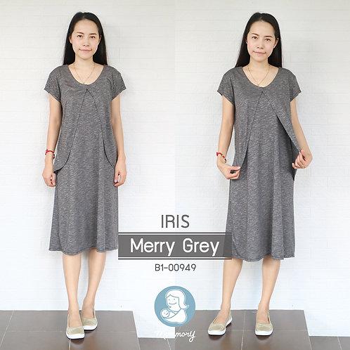 Iris (Merry Grey)  - เสื้อให้นม/ชุดให้นม แบบแหวก