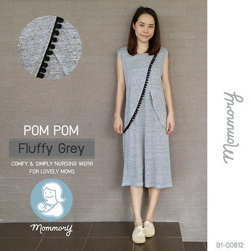 Pom Pom (Fluffy Grey) - เสื้อให้นม/ชุดให้นม แบบแหวก