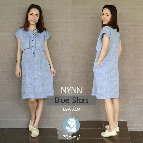 Nynn (Blue Stars) - ชุดให้นมแบบซิปซ่อน