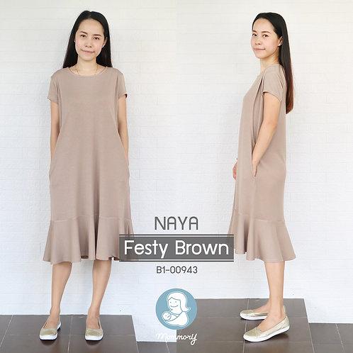 Naya (Festy Brown)  - เสื้อให้นม/ชุดให้นม แบบแหวก