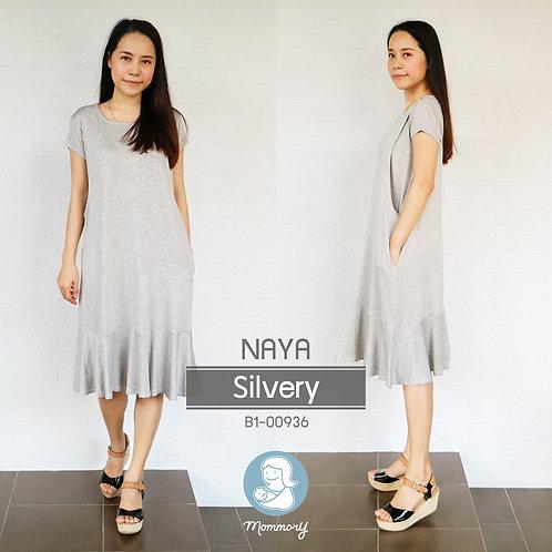 Naya (Silvery)  - เสื้อให้นม/ชุดให้นม แบบแหวก